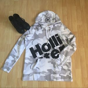 Hollister Logo Camouflage Pull Over Hoodie
